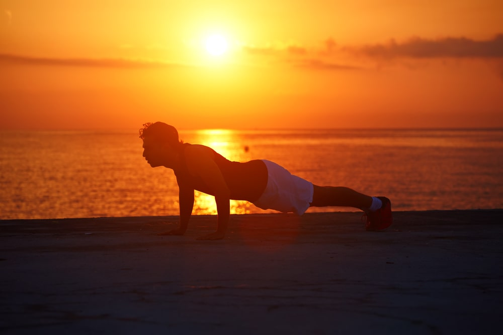 Pushups On The Coast At Sunset